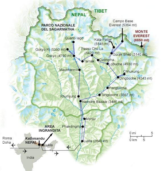 Cartina Mondo Nepal.Trekking Da Lukla Al Campo Base Everest E Verso I Laghi Di Gokyo Nel Cuore Dell Himalaya In Nepal